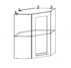 ШВУС 550х550 Шкаф верхний угловой со стеклом кухня София